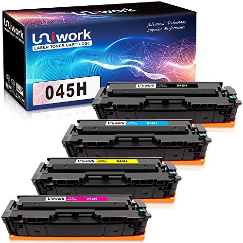 Uniwork Compatible 045 Toner Cartridge Replacement for Canon 045 045H CRG-045H for Canon Color imageCLASS LBP612Cdw MF634Cdw MF632Cdw MF632 MF634 Laser Printer Toner (4 Pack) ()