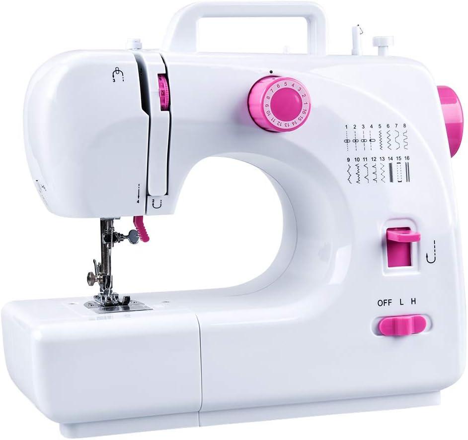 Máquina de coser JRing con 16 programas de costura, pedal de pie, máquina de coser eléctrica de brazo libre, velocidad ajustable, máquina de coser profesional para tejidos gruesos