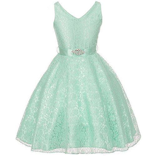 Dress Rhinestone Brooch - Little Girls Fabulous Full Lace V-Neck Dress Rhinestone Brooch Mint - Size 6