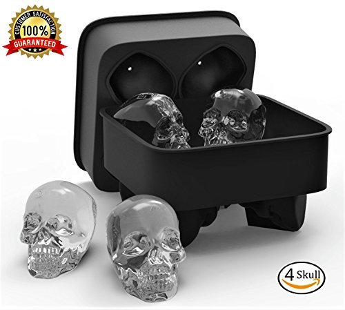 3D Skull Flexible Silicone Ice Cube Mold Tray, Makes Four Giant Skulls, Round Ice Cube Maker, Black - Pack of 1