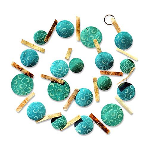 Beach Chic Garland Swag, 6 Ft Long, Shades of Blue Translucent Turquoise Roundels, Patterned Mother of Pearl Shells, Moon Pattern, Brown Spacers, Transparent Cord, Silver Metal Ring 71 L x 2¾ W Inches