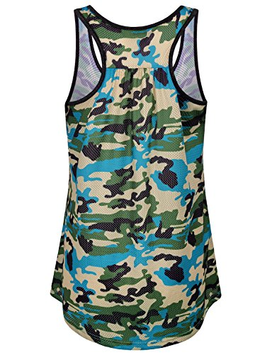 Miusey Sports Tank Top, Womens Performance Stretch Quick Dry Yoga Clothing Compression Workout Runing Tunic Racerback Sleeveless Shirts Simple Dressy Fitness Active Wear Camo Green M by Miusey (Image #1)