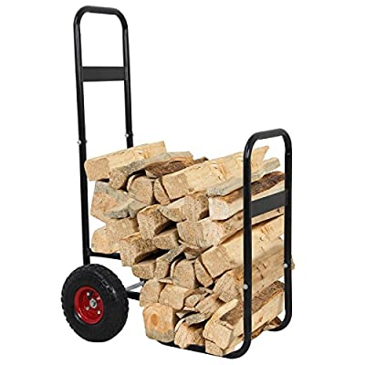 ZENY Outdoor Firewood Log Cart, Cart Log Carrier Fireplace Wood Mover Carrier Hauler Rack Caddy, Rolling Fire Storage Cart Dolly
