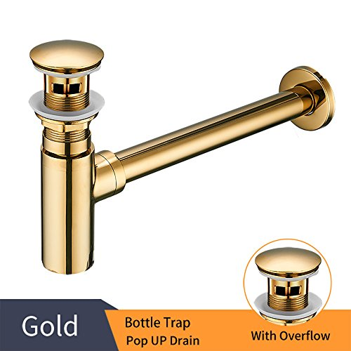 Gold Bathroom Basin Sink Bottle Trap Waste Pipe Adjustable Height & Outlet and Pop Up Drain Stopper with Overflow by OWOFAN (Image #1)