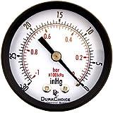 "DuraChoice 2"" Dial Utility Vacuum Pressure Gauge for Air Compressor Water Oil Gas, 1/4"" NPT Center Back Mount, Black Steel Case, -30HG/0PSI"