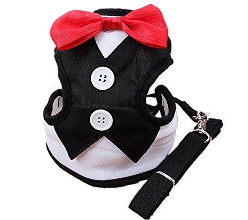 NACOCO Pet Velvet Red Bowtie Gentleman Suit Vest for Dogs with Handle Tuxedo Walk Harness (Medium)