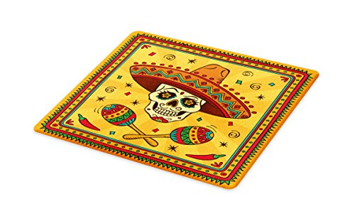Lunarable Mexican Cutting Board, Mexican Sugar Skull Cartoon Carnival Cartoon Traditional Celebration Print, Decorative Tempered Glass Cutting and Serving Board, Large Size, Orange Red Teal