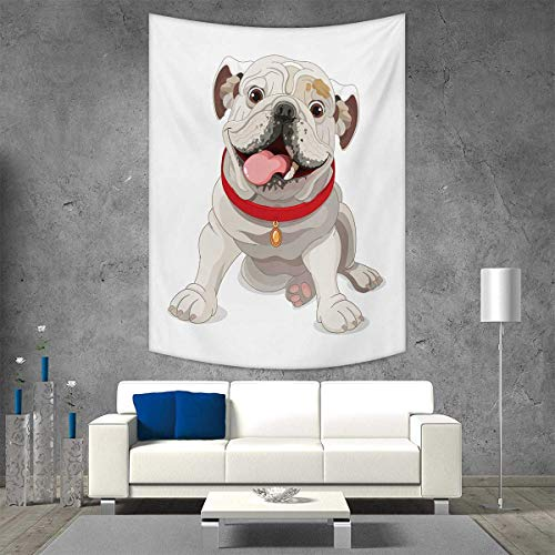 smallbeefly English Bulldog Beach Throw Blanket Happy Puppy a Red Collar Domestic Pure Breed Animal Illustration Vertical Version Tapestry 54W x 84L INCH Cream Red Pink