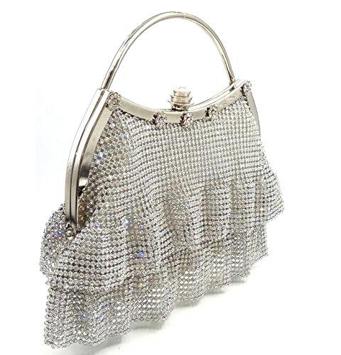 XCF WLQ Dinner Bag - Western Soft Pack - Bolso de Noche de Diamantes - Nupcial - Embrague de Mano,Negro,Bolso blanco