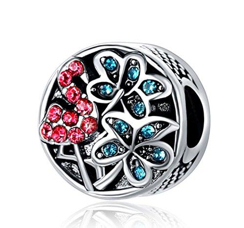 J&M Pink Crystal Flamigo Bird and Palm Trees Charm Bead for Charms Bracelets ()
