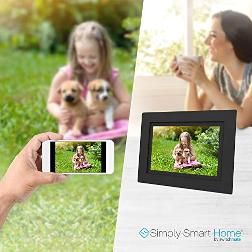 SimplySmart Home PhotoShare Social Network Frame 8'', Send Pics from Phone to Frame, Wi-Fi, Cloud, Digital Picture Frame, Holds Over 1,000 Photos, HD, 1080P, Black/White Mats by Switchmate (Image #1)