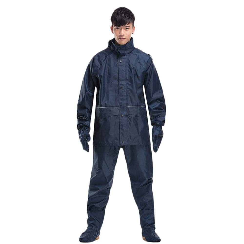 Navy bleu XX-grand LBYMYB Imperméable imperméable Veste et Pantalon Poncho à Capuchon Costume Moto Pantalon imperméable Ensemble de Travail activités de Plein air équipeHommest de Prougeection imperméable