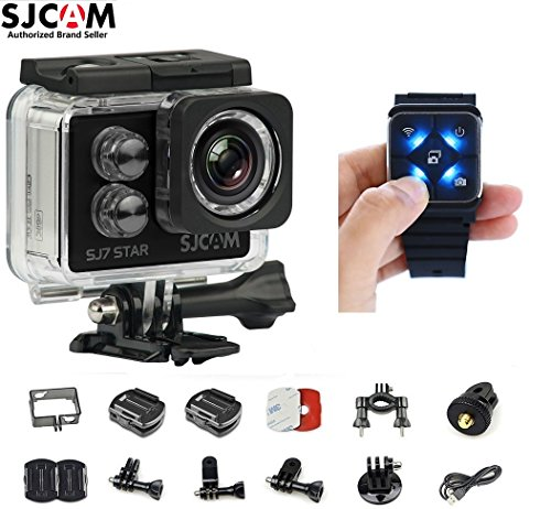 SJCAM SJ7 Star Kit {SJ7 Camera with Accessories, SJCAM Remote Watch} Real 4K Action Camera Wifi Waterproof Underwater Camera Ambarella Chipset 30FPS/Sony Sensor 12MP Gyro Stabilization-Black