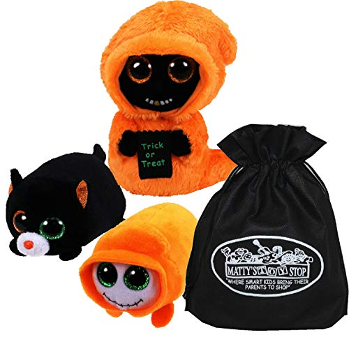 Ty Beanie Boos Grinner & Teeny Tys Trick & Treat Set Bundle with Bonus Matty's Toy Stop Storage Bag - 3 Pack
