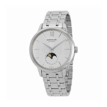 47ba6042cc8 Image Unavailable. Image not available for. Color  Mont Blanc Montblanc  Meisterstuck Heritage Moonstruck Silver Dial Stainless Steel Mens Watch  111184