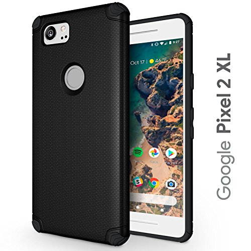 Google Pixel 2 XL Case - Slim & Flexible - Durable TPU Phone Cover with Shockproof Corner Cushions - Pixel 2XL Protective Case - Compatible with Magnetic Car Holder - Black (Google Pixel 2 XL)