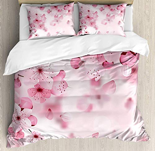 Floral Duvet Cover Set Twin Size, Japanese Sakura Flowers Blossoms Eastern Spring Nature Theme Illustration, Decorative 3 Piece Bedding Set with 2 Pillow Shams, Pale Pink Baby Pink