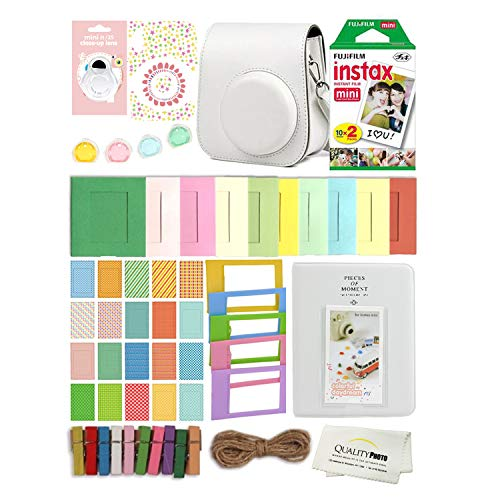 Fujifilm Instax Mini 11 Deluxe 8 in 1 Accessory Bundle Kit Case Album Stickers Frames and Quality Photo Microfiber Cloth (Ice White)