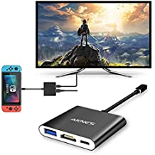 AKNES HDMI Type C Hub Adapter for Nintendo Switch, 3-in-1 USB + Type-C + HDMI Converter Cable for Nintendo Switch, Compatible with Samsung S8, Portable Black Aluminum Housing