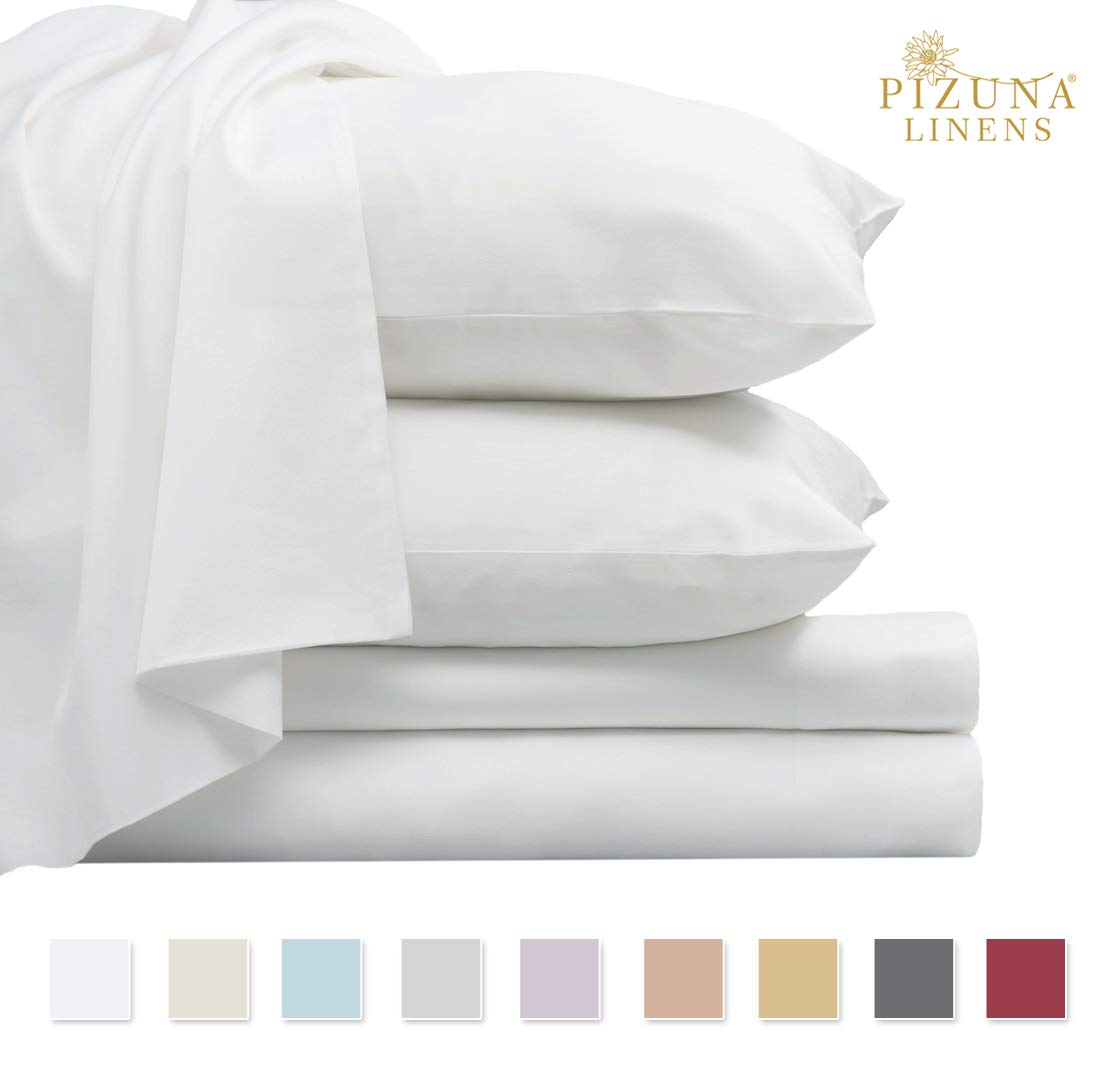 Luxurious 800 Thread Count Cotton Queen Sheets Set White, 100% Long Staple Cotton Smooth Sateen Bed Sheets, High Thread Count Sheets fit Upto 17'' Deep Pockets (White Queen 100% Cotton Sheet Sets)