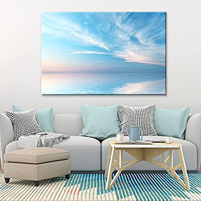 Canvas Wall Art - Peaceful Seascape at Sunset - Giclee Print Gallery Wrap Modern Home Art Ready to Hang - 16x24 inches