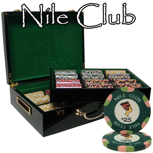 500 Ct Nile Club 10 Gram Ceramic Poker Chip Set in Hi Gloss Wooden Case by Brybelly
