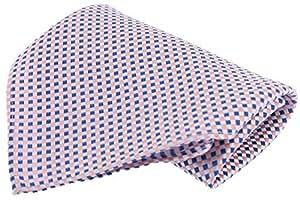 Pink/Blue Small Checked Silk Handkerchief by David Van Hagen