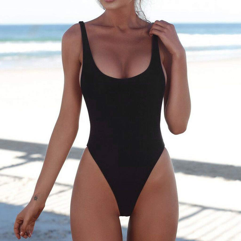 0904b8ed5b4 Women's One Piece Sexy Slim Waist Swimwear Backless Tummy Control Monokini Swimsuits  High Waist Bathing Suit at Amazon Women's Clothing store: