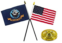 Navy Ship with USA America American Flag 4 inch x 6 inch Desk Set with Gold Base Superior wear for outdoor use; a true all-weather flag; excellent fly ability even in the slightest breeze.