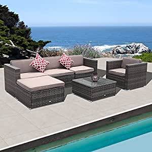 PATIOROMA 6pc Outdoor Rattan Sectional Furniture Set with Light Brown Seat and Back Cushions, Red Throw Pillows, Aluminum Frame, Dark Gray PE Wicker (6 Pieces-2)
