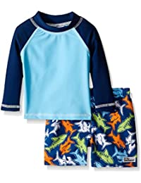 Flap Happy Baby Boys UPF 50 Rash Guard and Infant Swim Diaper Trunk Set N4YjHsYv