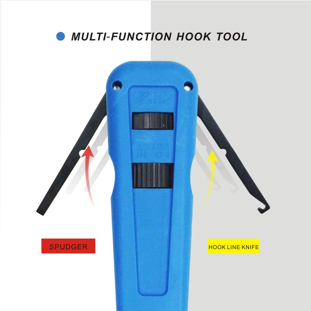 Multi-Function Punch Down Tool with 110 Blade /& Extra Network Wire Stripper for cat6a//cat6//cat5e//cat5 Network Cable Beka