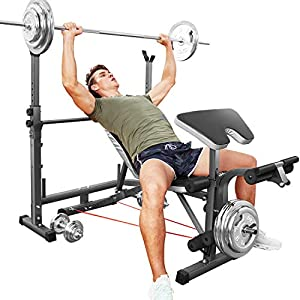 OppsDecor Strength Training Olympic Weight Benches for Full Body Workout – Adjustable Olympic Weight for Indoor Exercise(US Stock)