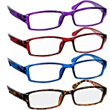 Reading Glasses Best 4 Pack_Purple Red Blue Tortoise for Men & Women Have a Stylish Look & Crystal Clear Vision When You Need It! Comfort Spring Arms & Dura-Tight Screws_100% Guarantee + 2.50