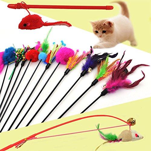 Colores aleatorios Fablcrew Palillos de Juegos para Gatos Juego Interactivo Divertido para Gatos Varita con Punta con Plumas y Campana 4/Unidades A Juego