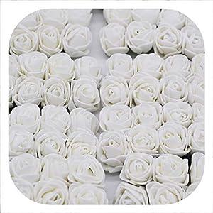 Memoirs- 36/72/144Pcs 2Cm Decorative Teddy Bear Rose Pe Foam Artificial Flower Bouquet for Home Wedding Decoration DIY Wreath Fake Flower,White,144Pcs 69