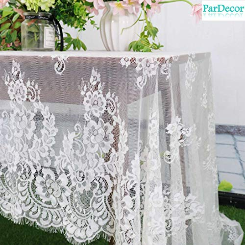 - Vintage Lace-Tablecloth 60x126-Inch White Lace Fabric Eyelash Chantilly Floral Birdal Wedding Dress Flower Lace Table Cloth DIY Craft Trim Applique Embroidered Tablecloth Linen