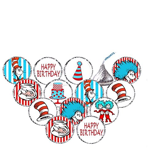 Seuss Party Stickers for Hershey's Kisses Stickers-BABY SHOWER OR BIRTHDAY Party Favors - 210 Count]()