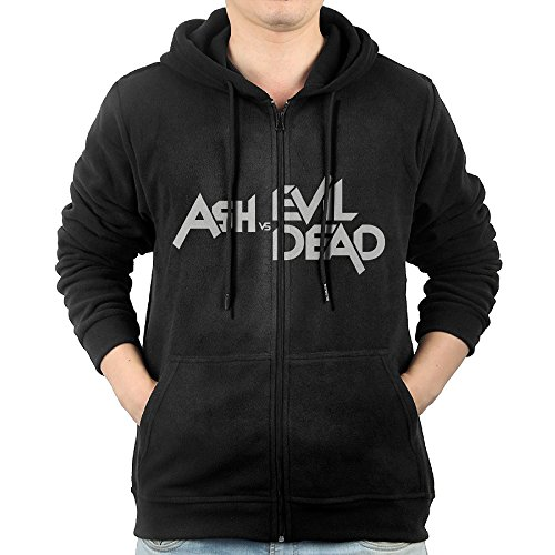 Bruce Campbell Ash Costumes (GGDDAA Mens Ash Vs Evil Dead Visor Cool Hoodie Hooded Sweatshirt Casual Style L Black)