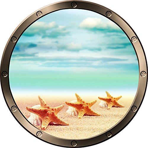 12  Porthole Ship Window Ocean Sea View Shells On Beach  3 Pewter Round Wall Decal Kids Sticker Baby Room Home Art D Cor Graphic Small