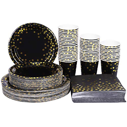 HomyPlaza Black and Gold Party Supplies 200 PCS Disposable Paper Plates Dinnerware Set 50 Dinner Plates 50 Dessert Plates 50 9oz Cups 50 Napkins for Wedding Birthday New Year Eve Party