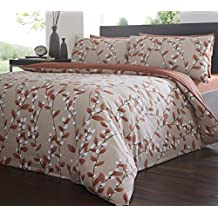 Super King Size Felicity Amber, Duvet / Quilt Cover Bedding Set, Leaves Leaf Vine Bud, Beige Latte Linen Rust Terracotta Orange by DE CAMA