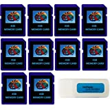 4GB SDHC Class 10 Everything But Stromboli 10-Pack SD Style Flash Memory Card Wholesale Bulk Lot works with Digital, Trail, Canon, Nikon, Game Camera with Everything But Stromboli (tm) Combo Reader