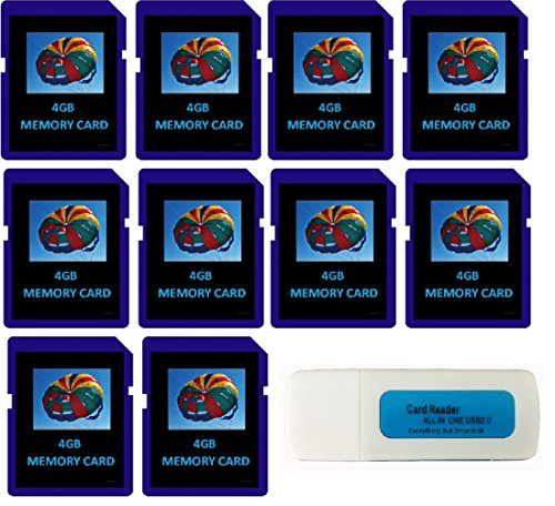 4GB SDHC Class 10 Everything But Stromboli 10-Pack SD Style Flash Memory Card Wholesale Bulk Lot works with Digital, Trail, Canon, Nikon, Game Camera with Everything But Stromboli (tm) Combo Reader from Everything But Stromboli