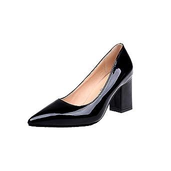 FEITONG Spitze Damen Pumps  Blockabsatz High Heels  Frauen High Heels Pumps Kleid Schuhe (EU:38=CN:37 Schwarz)