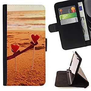 For Sony Xperia Z1 L39 Case , Marrón Beige arena de la playa del verano- la tarjeta de Crédito Slots PU Funda de cuero Monedero caso cubierta de piel
