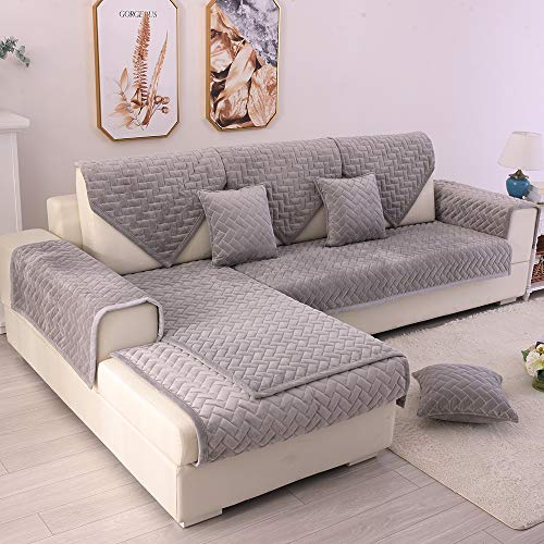 TEWENE Couch Cover, Sofa Cover Couch Covers Sectional Couch Covers Anti-Slip Sofa Slipcover for Dogs Cats Pet Love Seat Grey 36