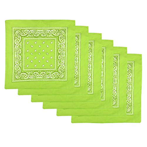 6 Pack Cotton Bandanas Cute Bandana Handkerchiefs,Lime Green