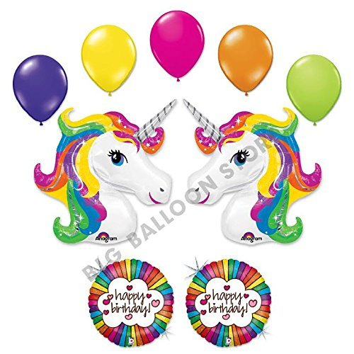 Unicorn 9 pc Retro Rainbow Birthday Party Balloon bouquet