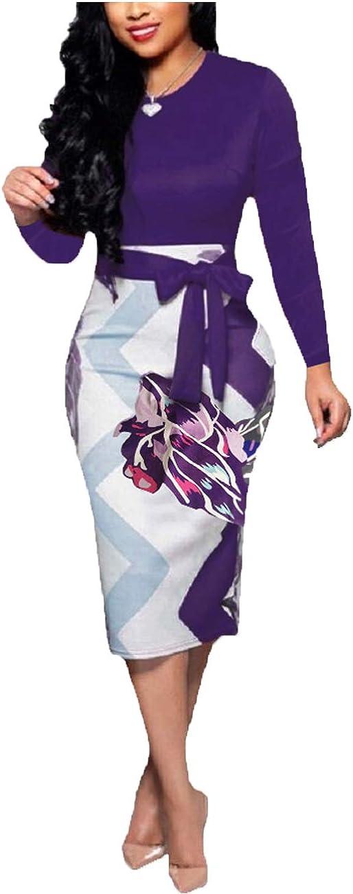 YCOOCE Womens Bodycon Pencil Dress Bowknot Waist Belt- Cute Floral Bodycon Midi Dress Wear to Work S-XXL